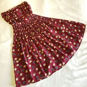 Maroon strapless floral print dress, Size M
